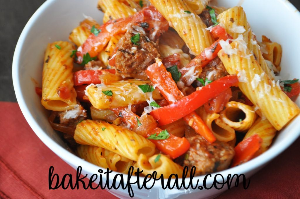 Turkey Sausage and Peppers Rigatoni