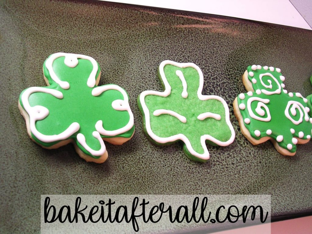 St. Patrick's Day Sugar Cookies with Royal Icing on a plate