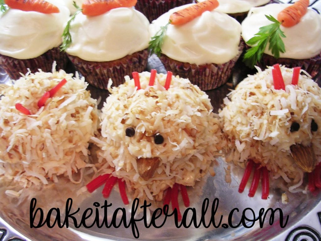 Platter of Spring Chick cupcakes and Carrot Cupcakes