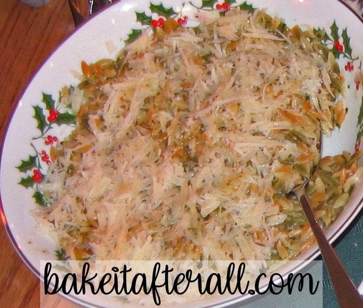 Orzo with Parmesan and Basil in a serving bowl