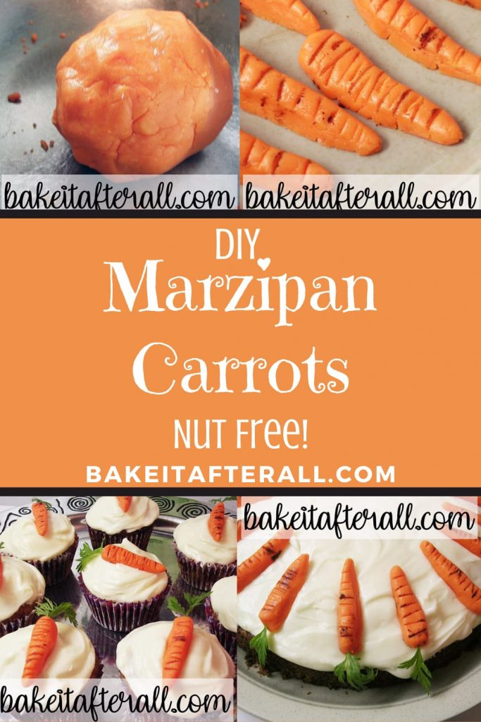 nut free marzipan carrots on carrot cake cupcakes with cream cheese frosting cake