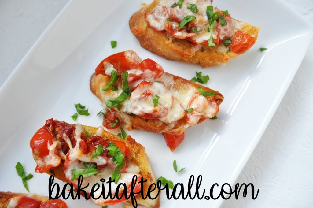 double tomato bruschetta on a plate