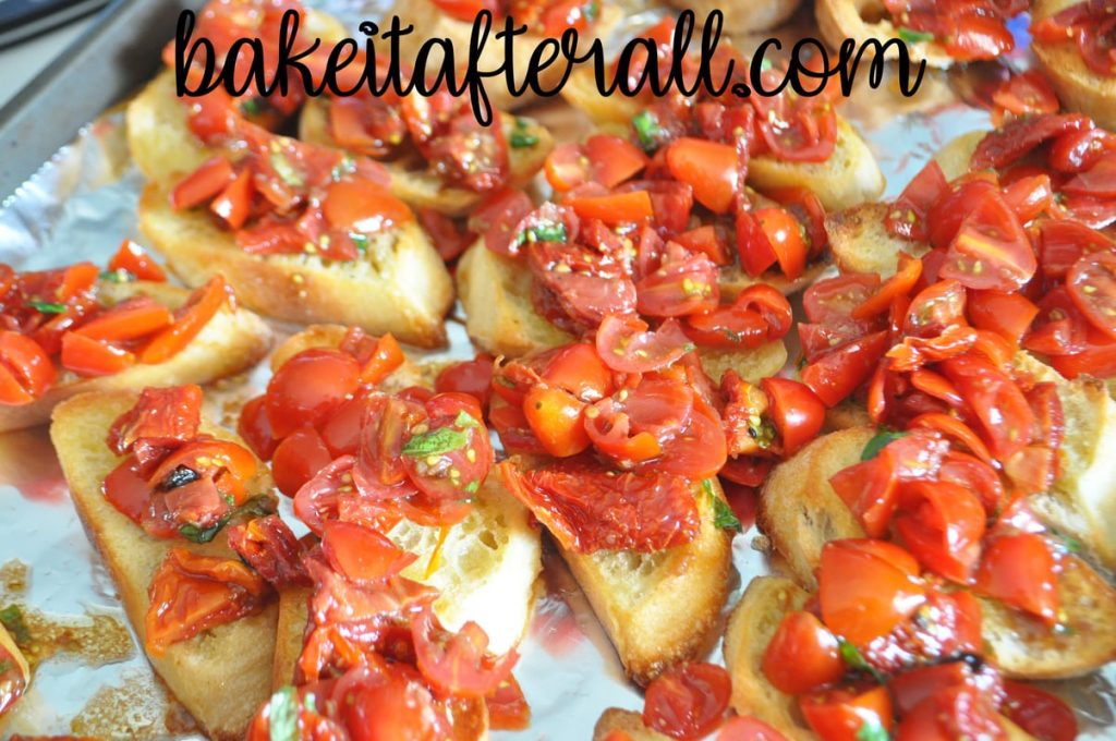 slices of bread with tomato mixture on top