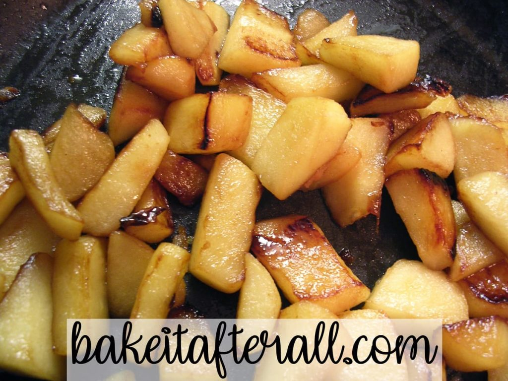 caramelized apples in a skillet