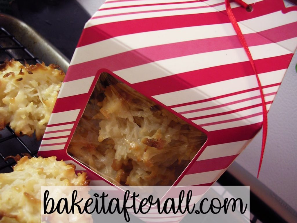 Coconut Macaroons in Christmas gift box