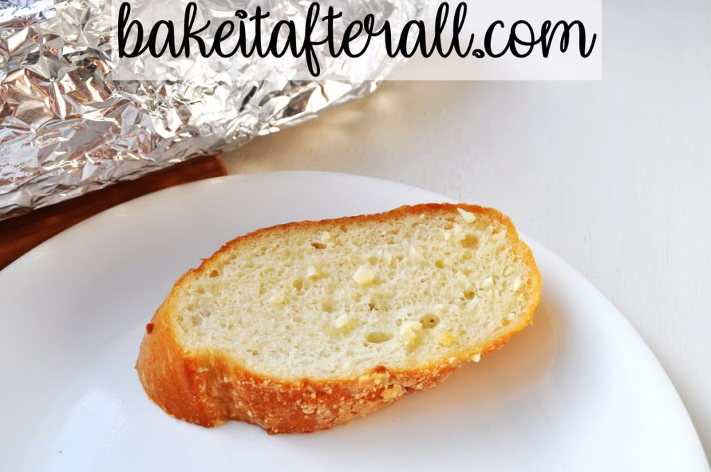 piece of Garlic Bread on a plate