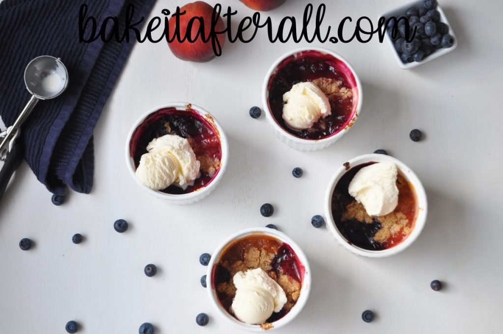 peach blueberry crumbles with ice cream