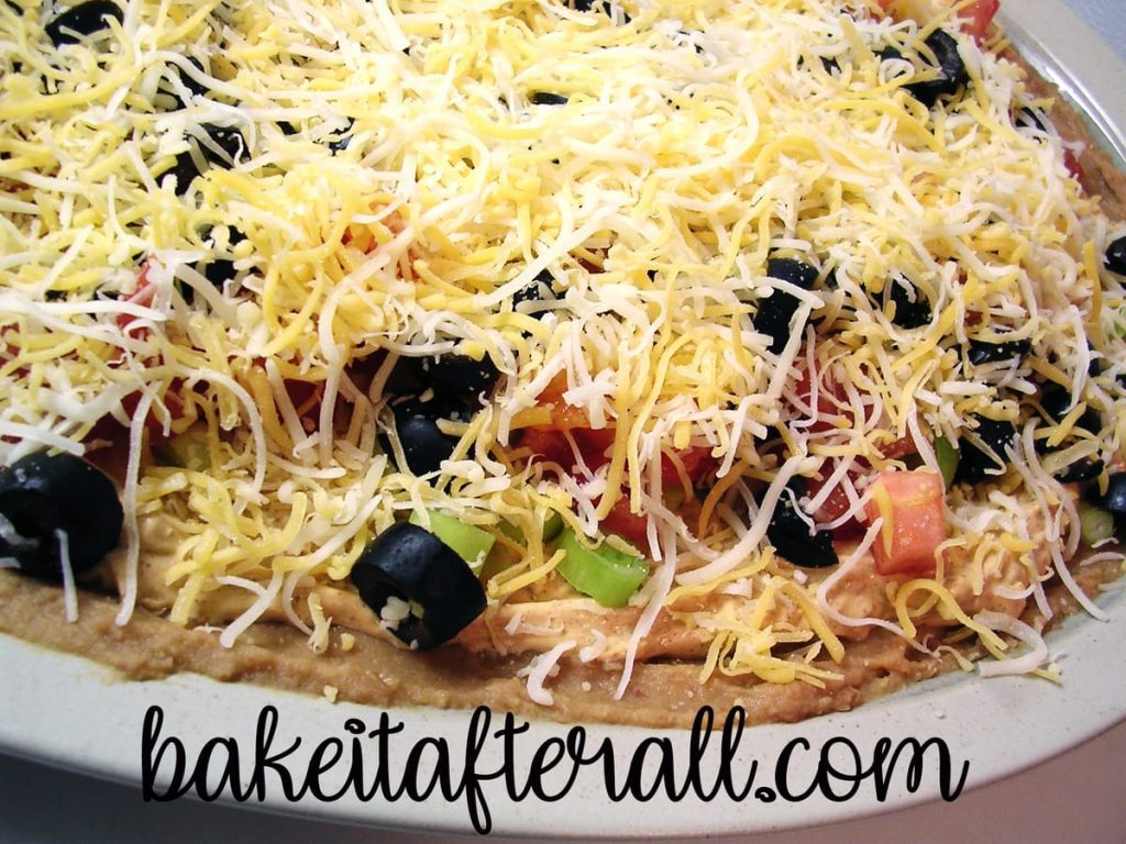 Layered Taco Dip on a plate