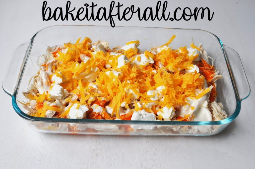 ingredients layered in dish before being baked