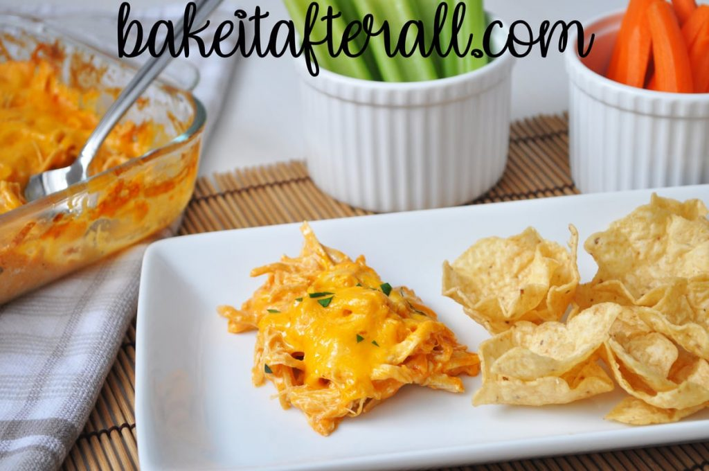 Buffalo Chicken Dip  on a plate with tortilla chips