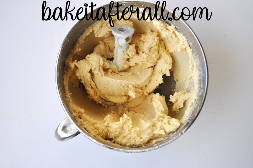 butter cookie dough in a mixing bowl