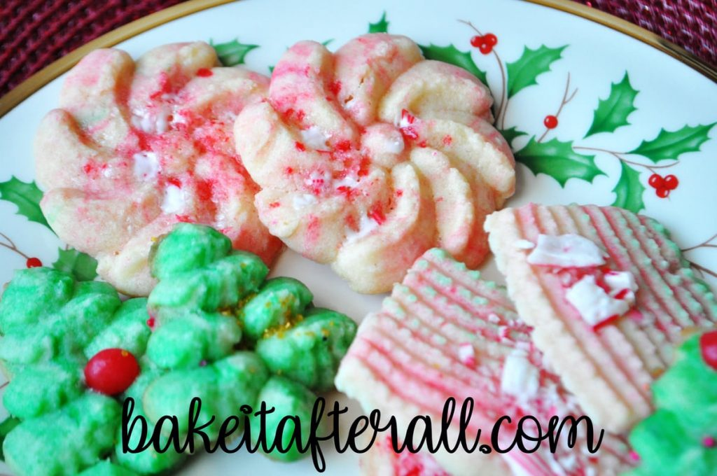 swirl butter spritz cookies with peppermint