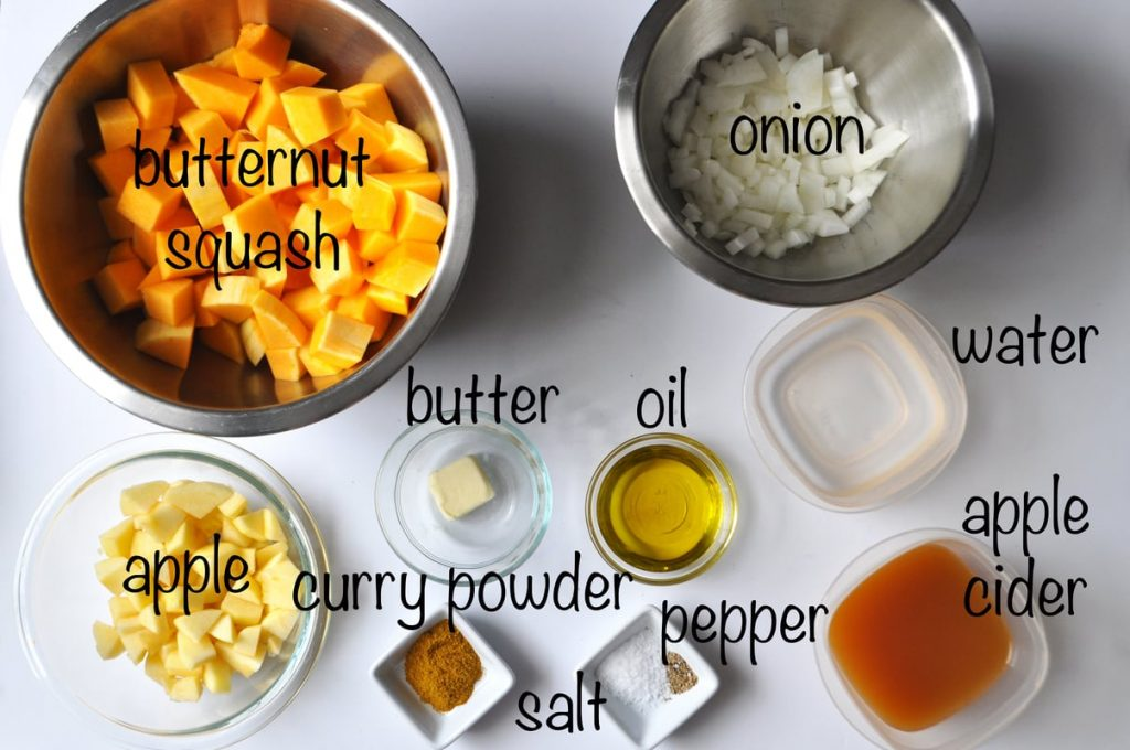 Butternut Squash and Apple Soup ingredients