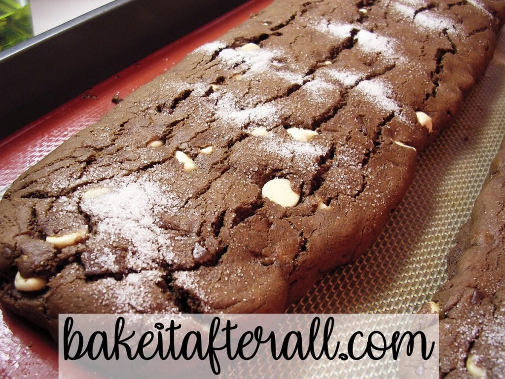 Triple Chocolate Biscotti on a silpat