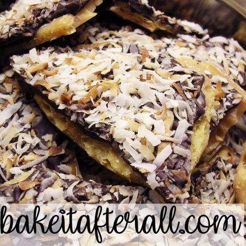 Chocolate Cracker Candy with toasted coconut on top