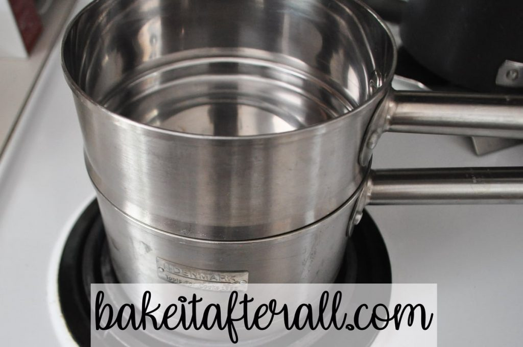double boiler on the stove