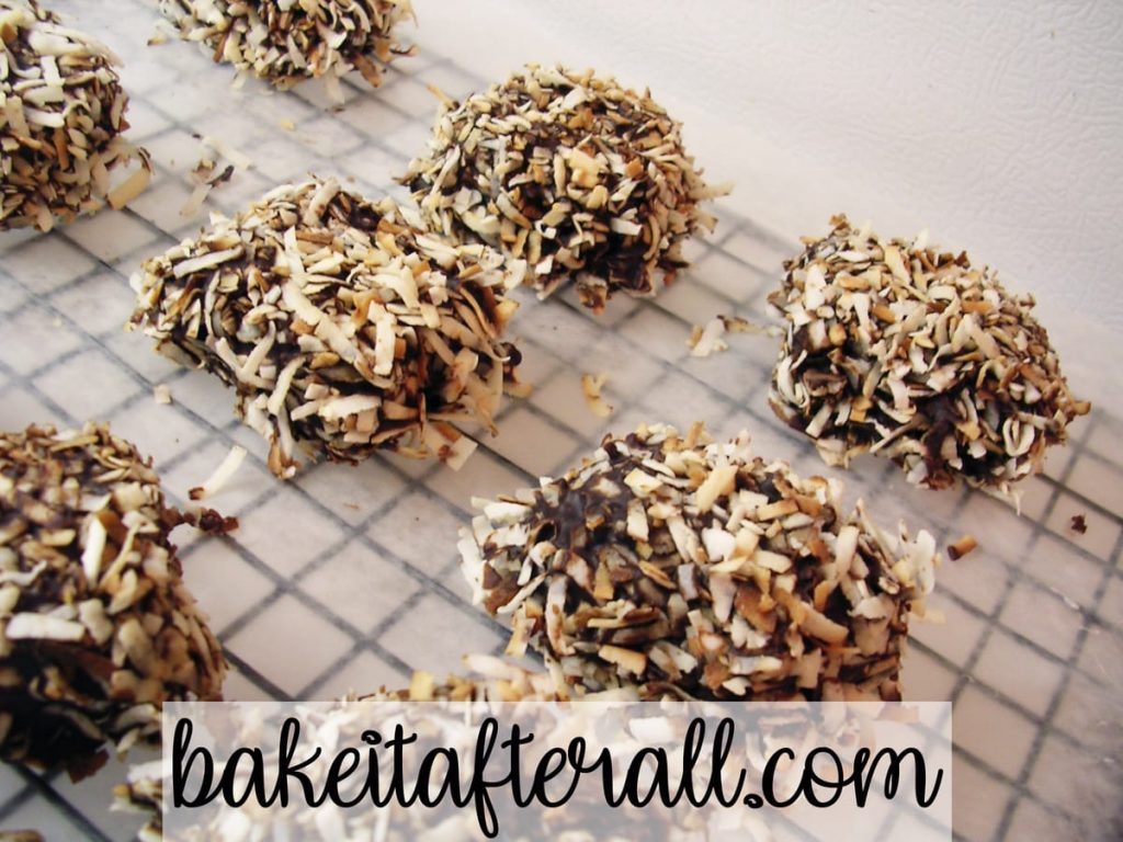 Homemade Marshmallows with chocolate and toasted coconut