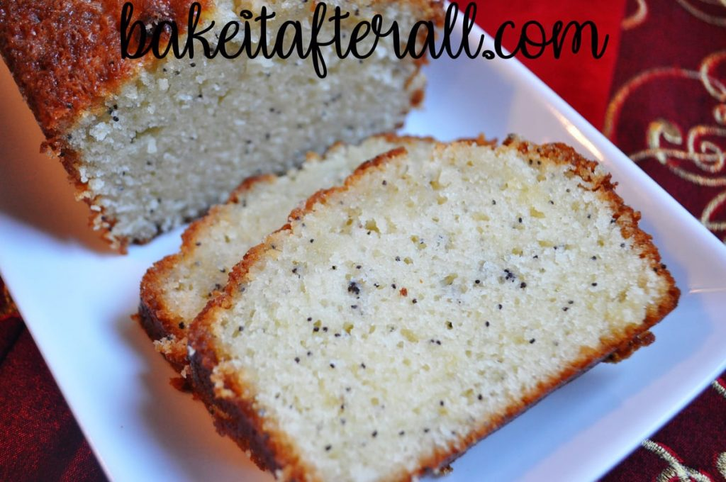 Poppy Seed Bread slices on a platter