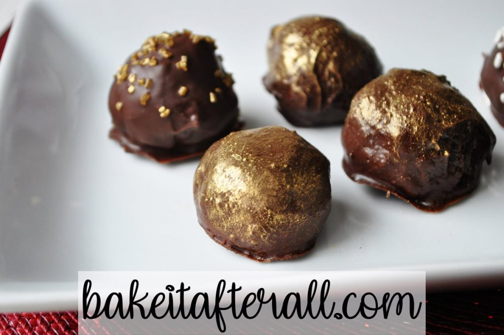 Oreo Truffles painted with gold luster dust