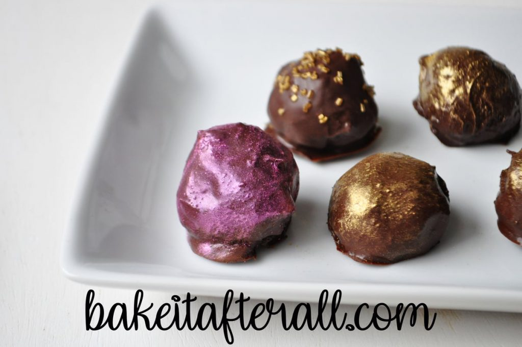 pink luster dust truffles