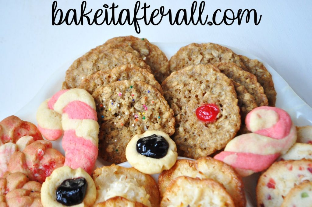Chewy Oatmeal Cookies on a Christmas cookie tray