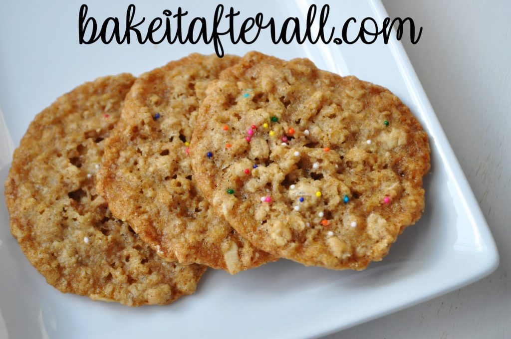Chewy Oatmeal Cookies on a platae