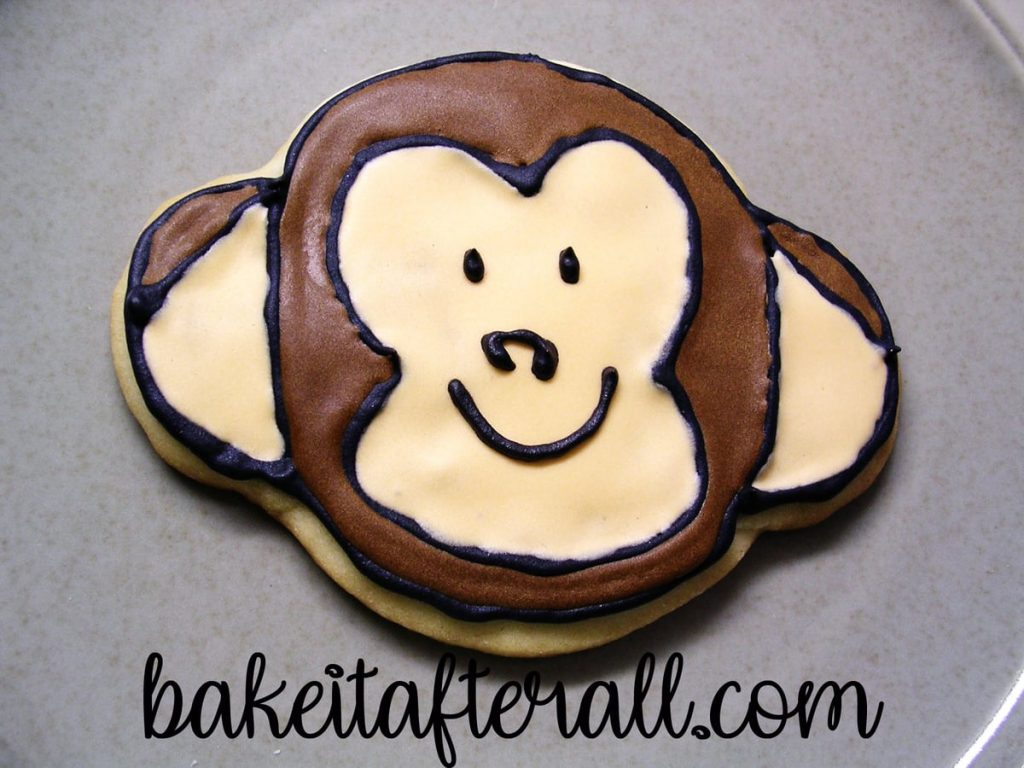 Monkey Face Sugar Cookies with Royal Icing