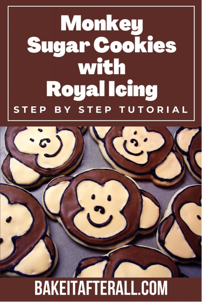 Monkey Face Sugar Cookies with Royal Icing Pin