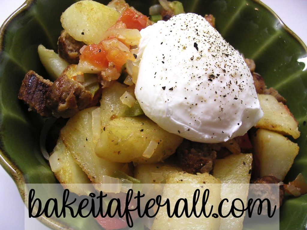 Crispy Potatoes Breakfast Skillet with poached egg on top