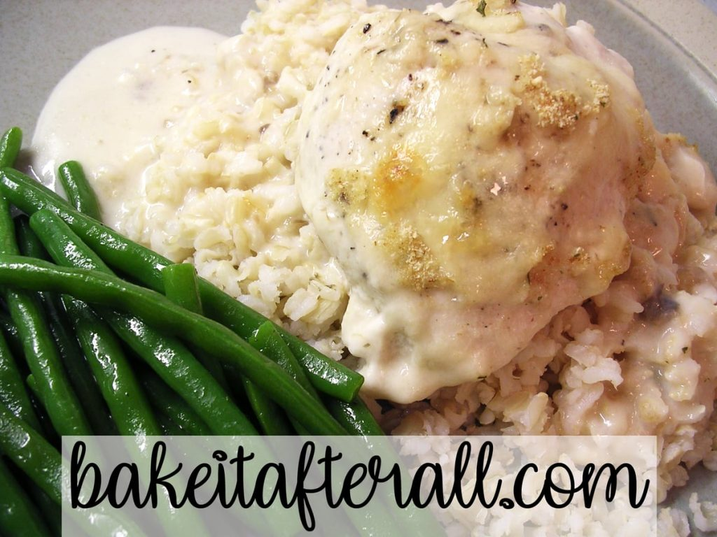 Swiss Cheese Sour Cream Chicken Bake over rice with green beans on the side