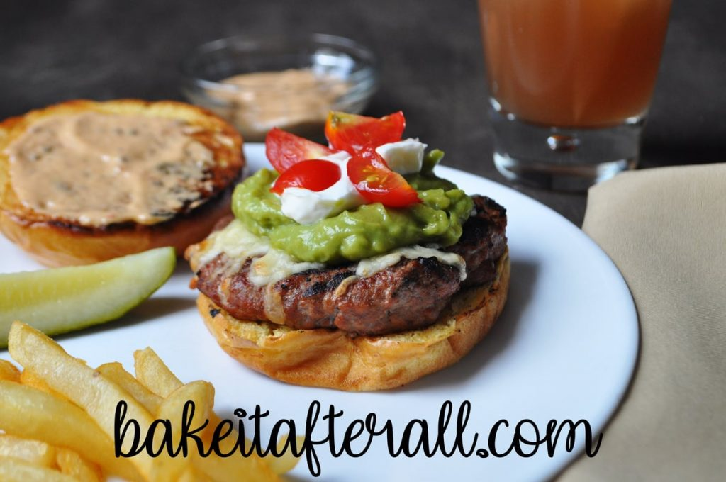 Guacamole Turkey Burgers with bun off to show the toppings