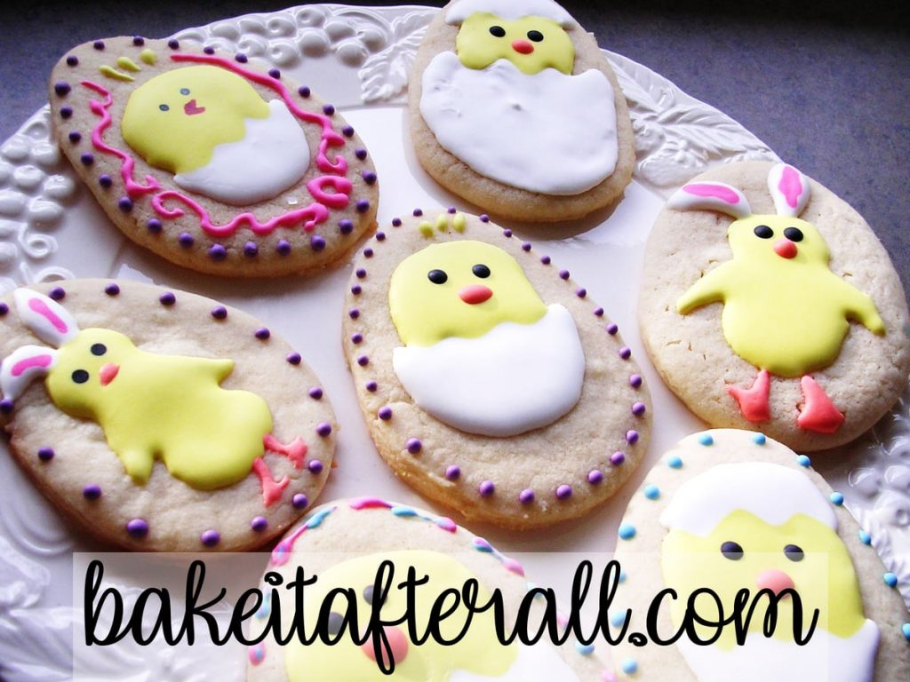 easter chick cookies inside eggs