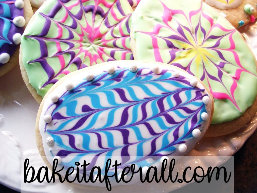 easter egg cookie with swirly pattern