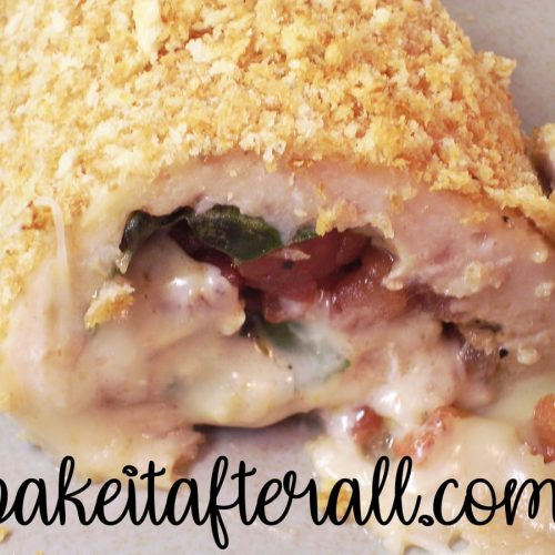 Caprese Stuffed Chicken cut open to see the inside