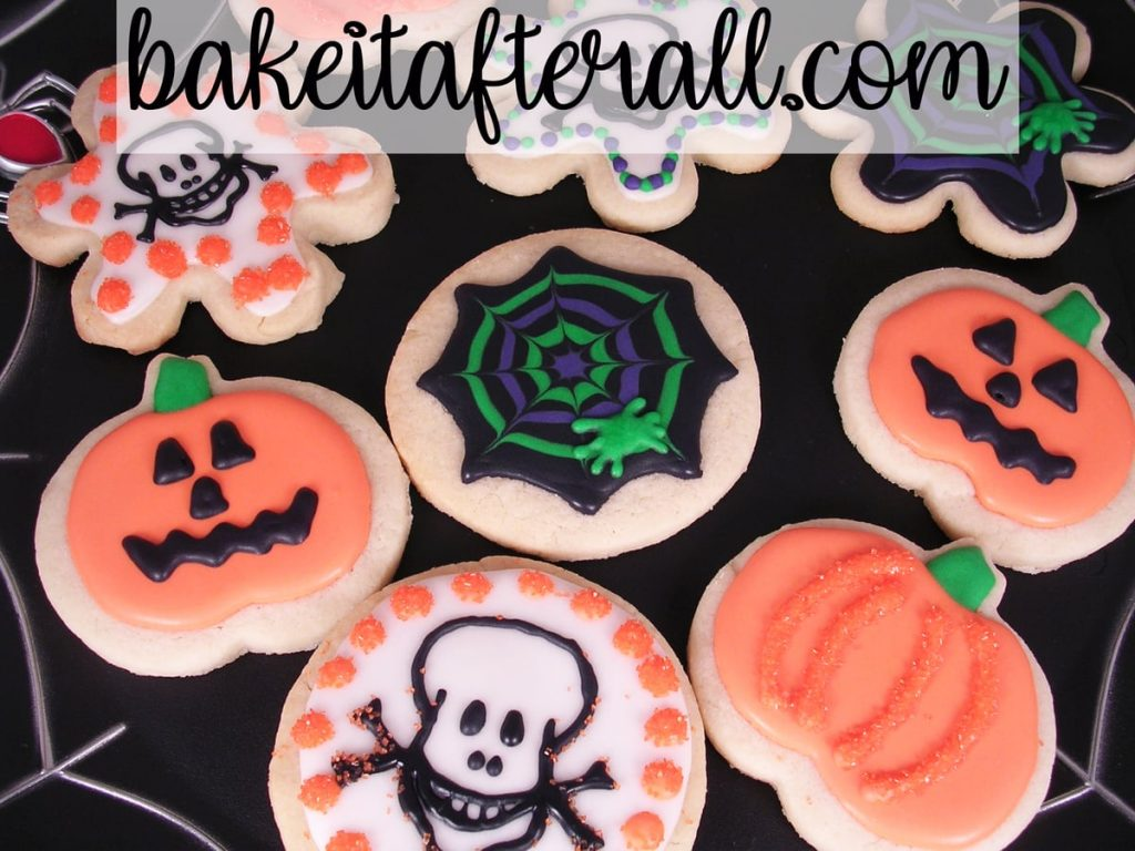Halloween Sugar Cookies with Royal Icing on a platter
