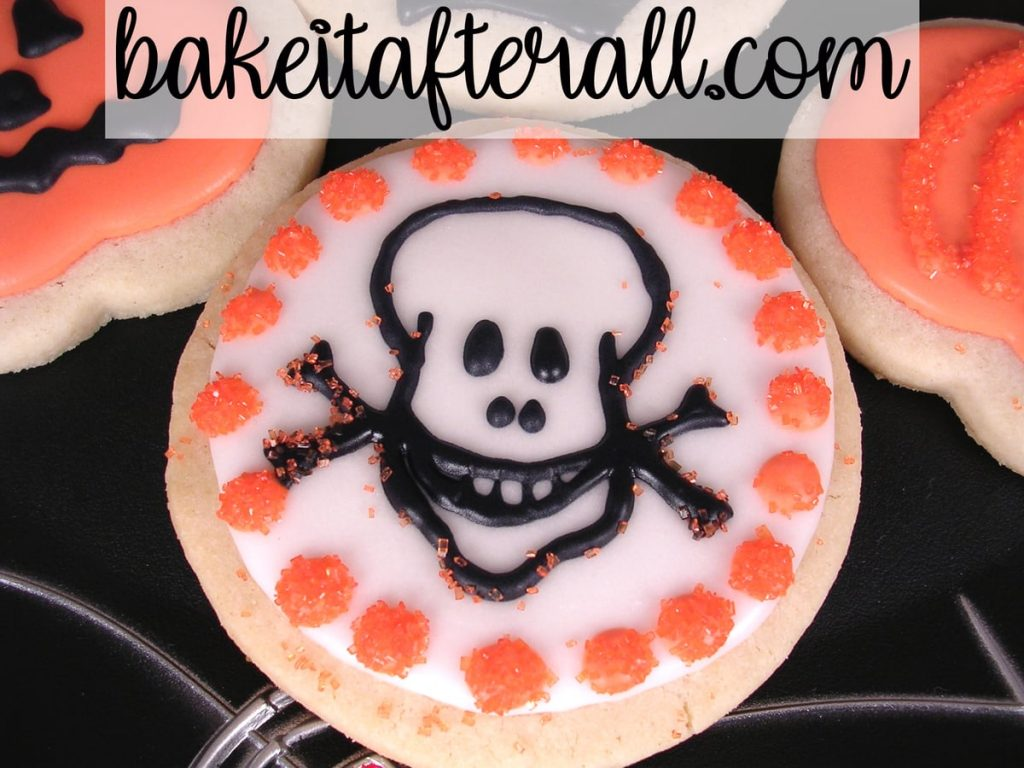 skull and crossbones decorated cookie