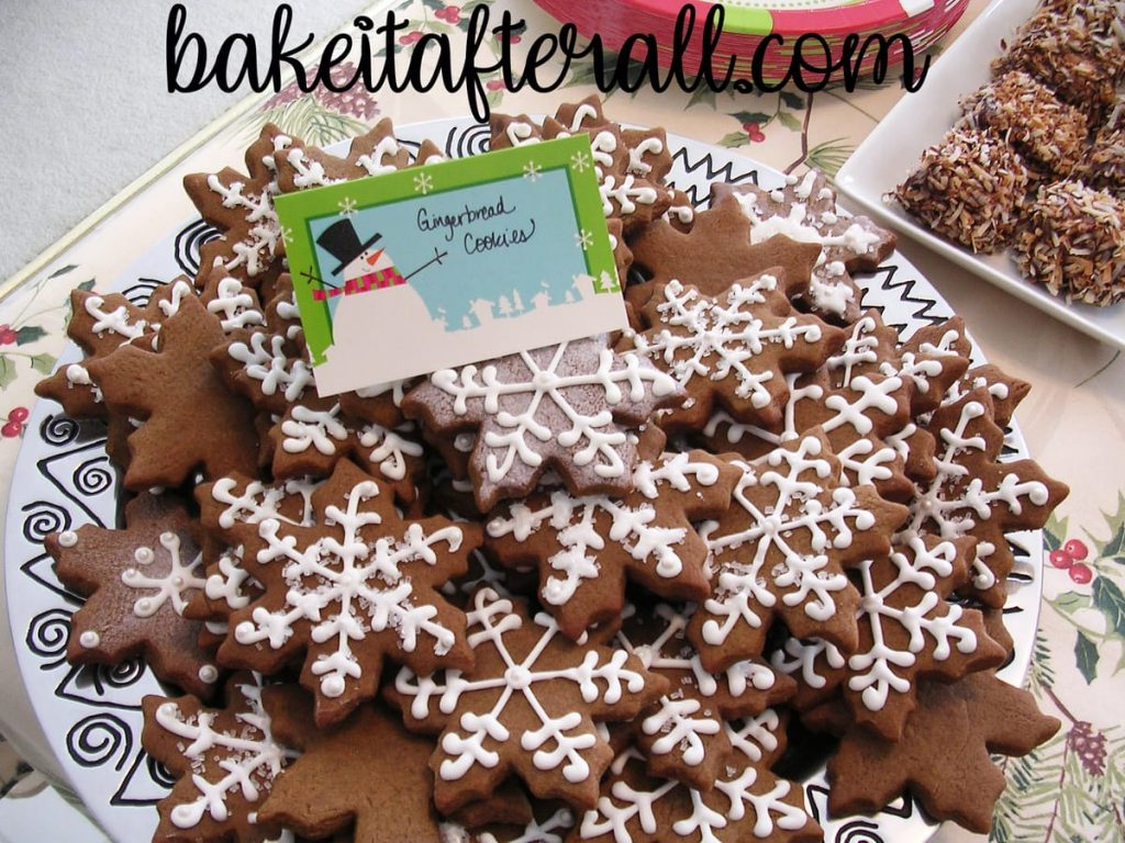 platter of snowflake gingerbread cookies for a Holiday Open House