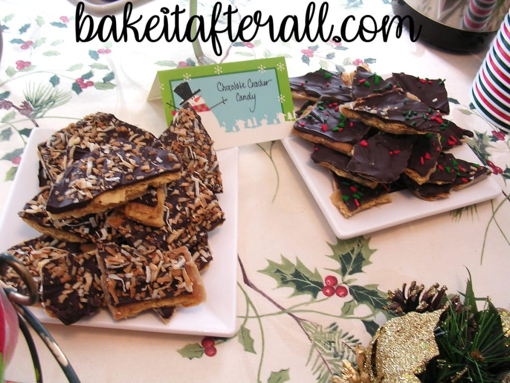 chocolate cracker candy on plates of holiday dessert table for 10 Best Holiday Dessert Recipes for a Holiday Open House