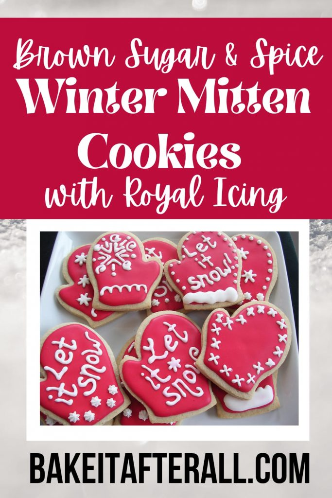 Brown Sugar & Spice Winter Mitten Cookies with Royal Icing Pin