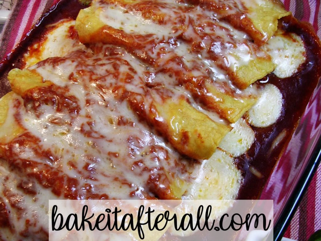 a casserole dish of Chicken Enchiladas with Red Chile Sauce