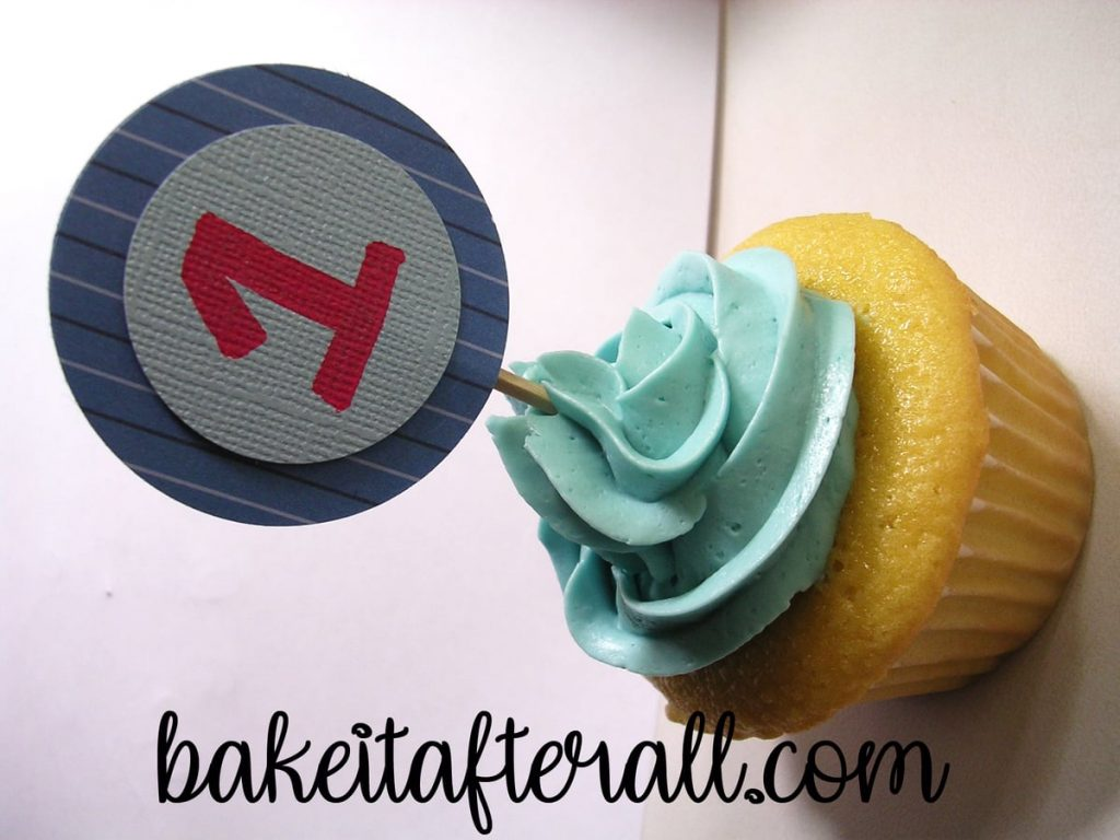 cupcake with a 1 pick in it