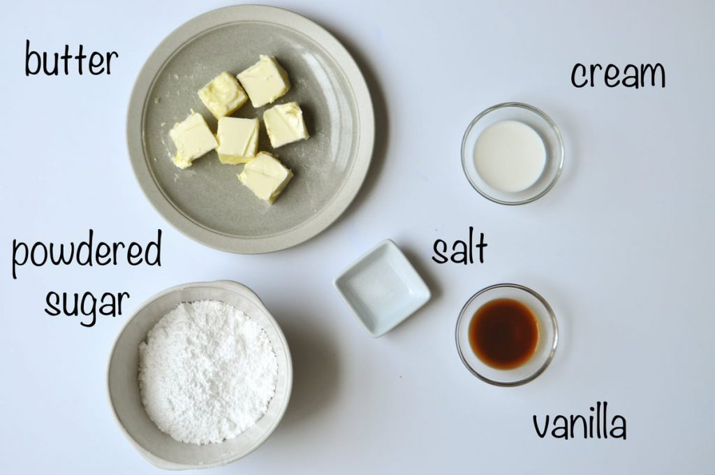 Easy Vanilla Buttercream ingredients