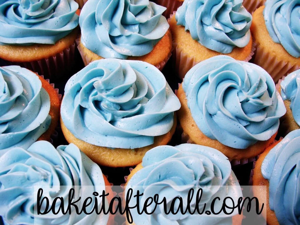 Easy Vanilla Buttercream on a tray of cupcakes