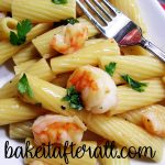 Garlicky Shrimp Pasta on a plate