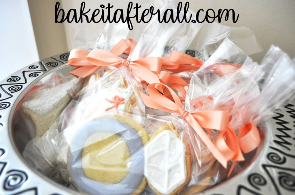 Bridal Shower Sugar Cookies with Royal Icing packaged as favors