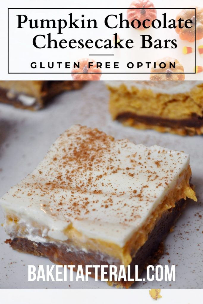 Pumpkin Chocolate Cheesecake Bars Pin