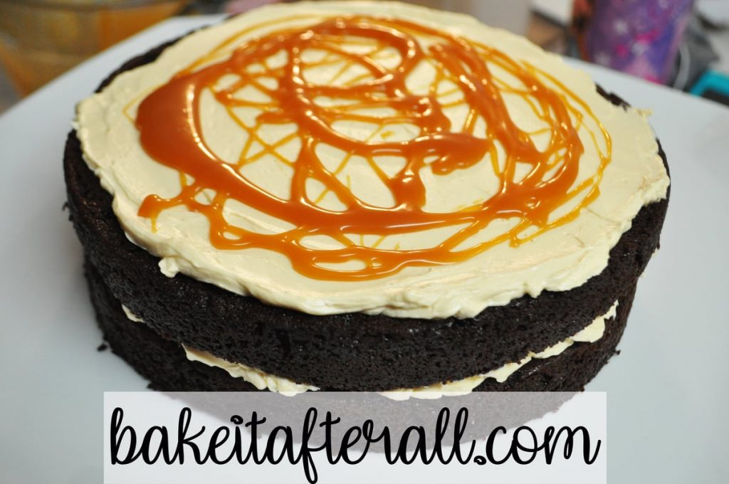 chocolate cake with salted caramel swiss meringe buttercream and salted caramel sauce