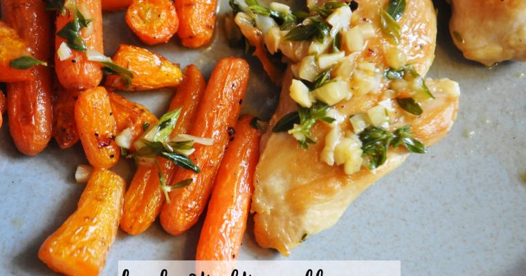 Garlic Braised Chicken Thighs with Roasted Carrots