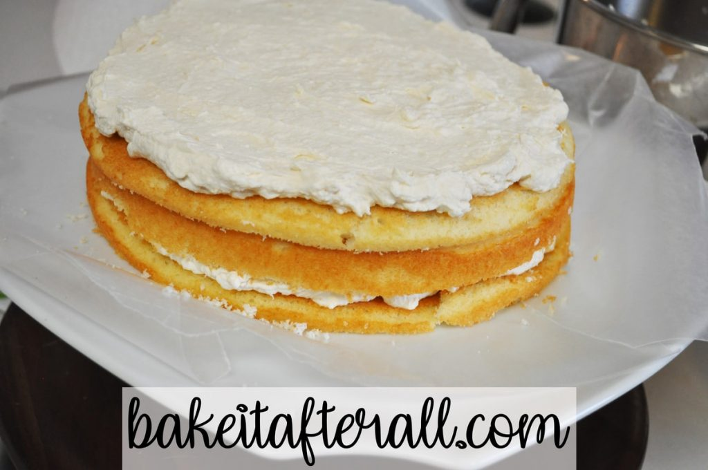 vanilla cake layers with kahlua whipped cream filling