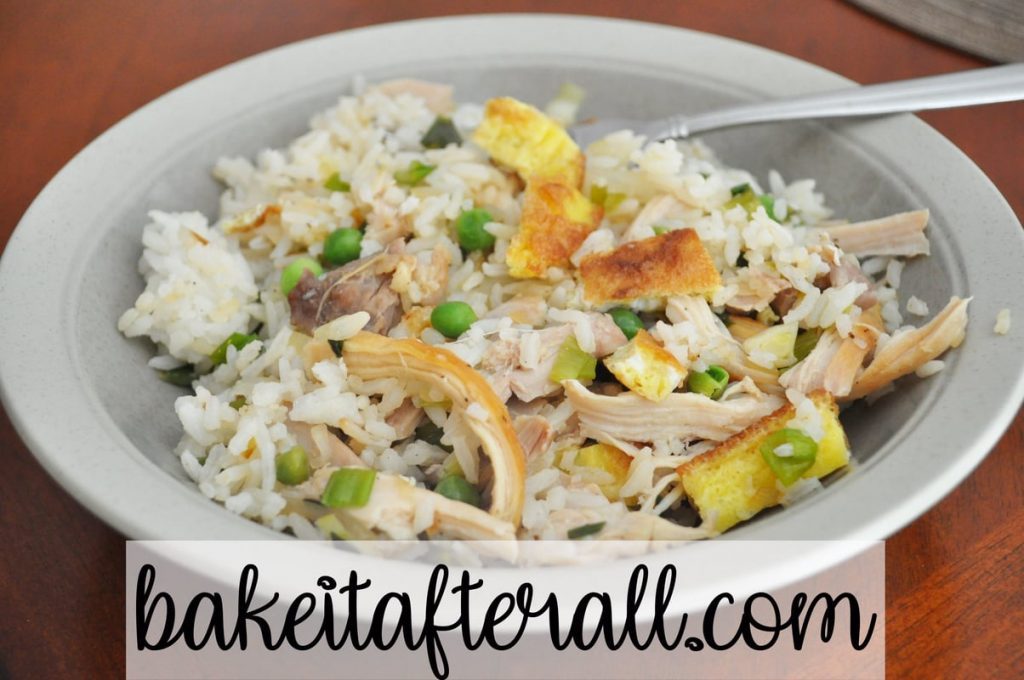 Soy free chicken fried rice in a bowl